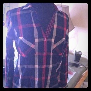 Skies are blue Sz M plaid Blouse blue red